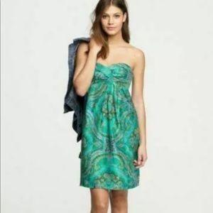 J.Crew Green Silk Paisley Strapless Dress